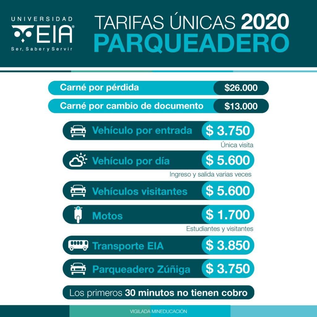 tarifas parqueadero 2020