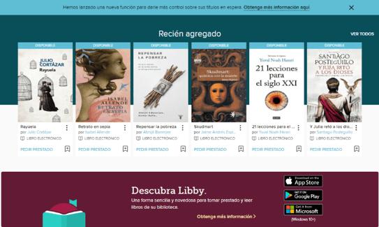 Servicios virtuales de la biblioteca para estudiantes, profesores y empleados